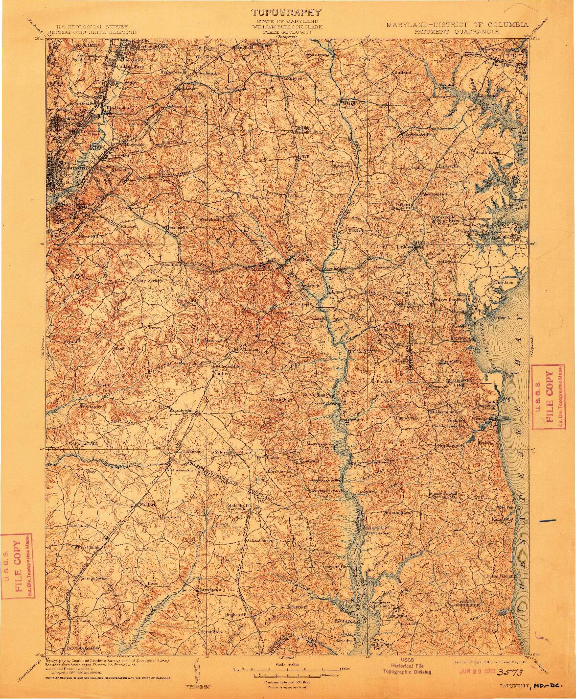 USGS 1:125000-SCALE QUADRANGLE FOR PATUXENT, MD 1906