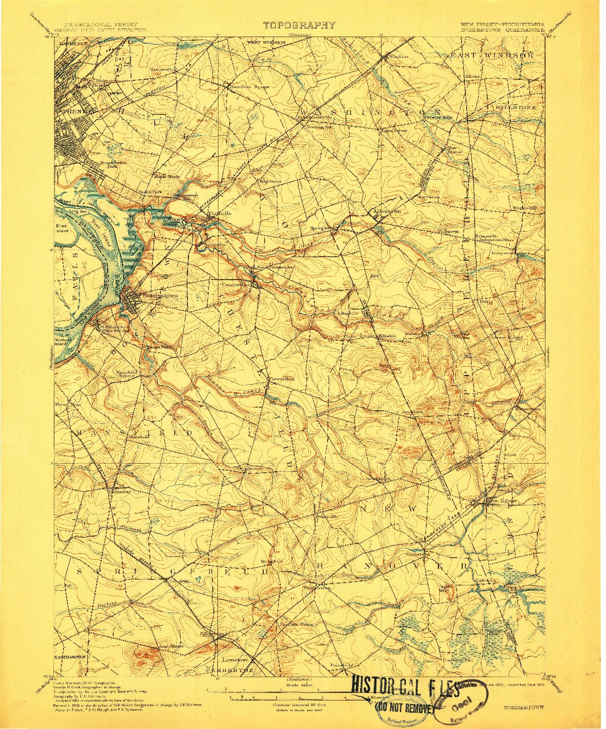 USGS 1:62500-SCALE QUADRANGLE FOR BORDENTOWN, NJ 1906