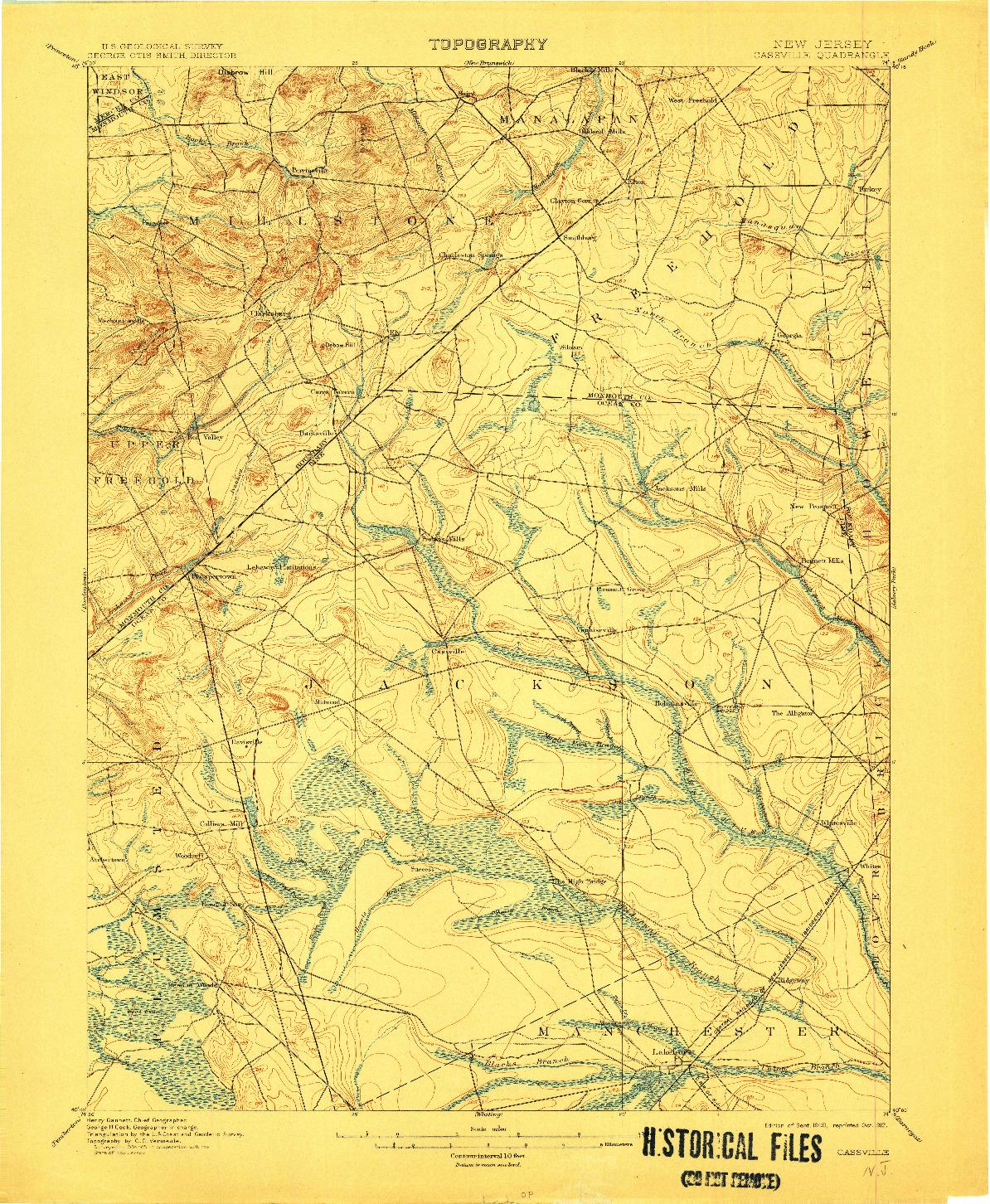 USGS 1:62500-SCALE QUADRANGLE FOR CASSVILLE, NJ 1900