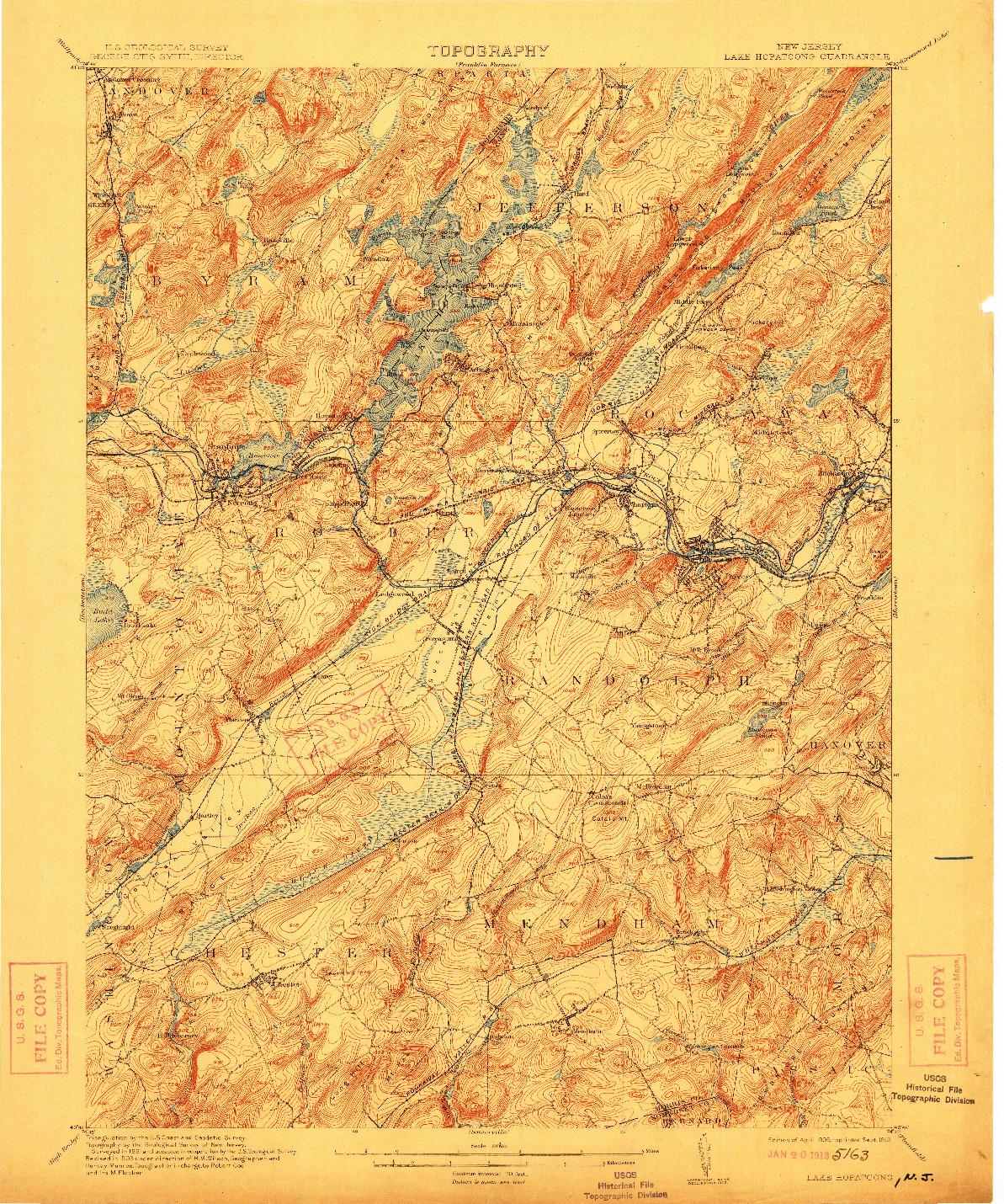 USGS 1:62500-SCALE QUADRANGLE FOR LAKE HOPATCONG, NJ 1905