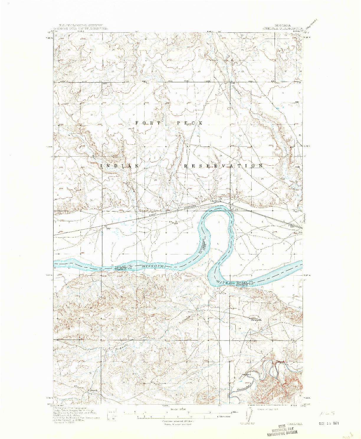 USGS 1:62500-SCALE QUADRANGLE FOR CHELSEA, MT 1912