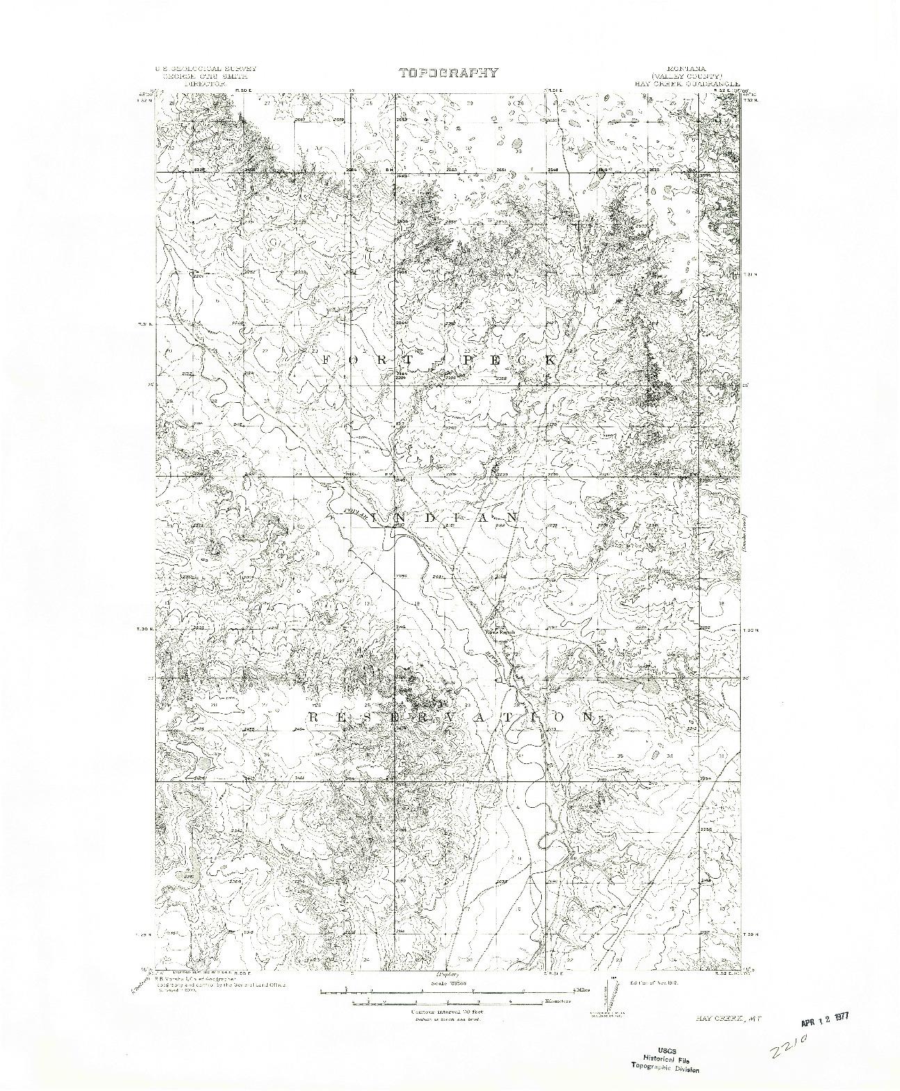 USGS 1:62500-SCALE QUADRANGLE FOR HAY CREEK, MT 1912
