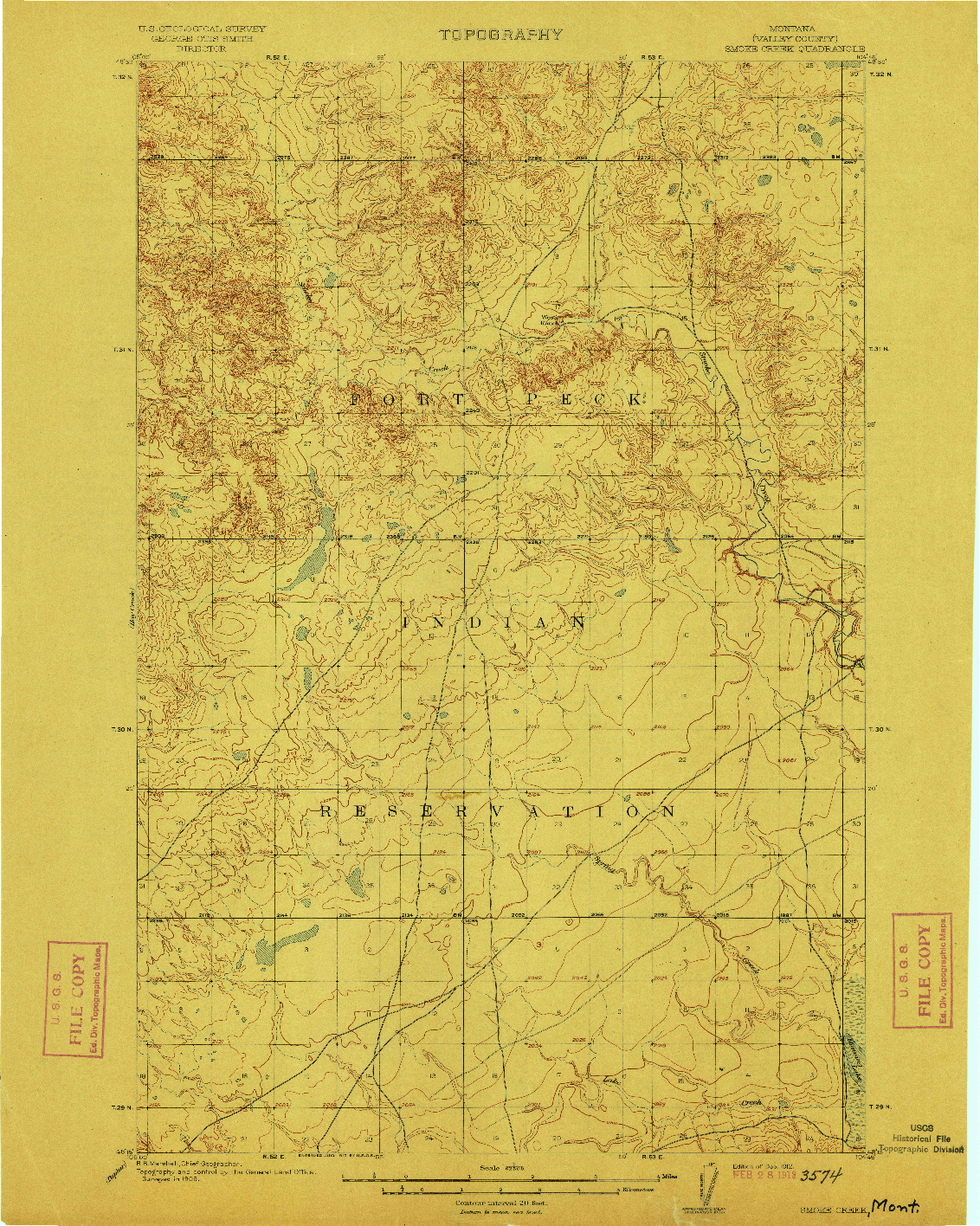 USGS 1:62500-SCALE QUADRANGLE FOR SMOKE CREEK, MT 1912