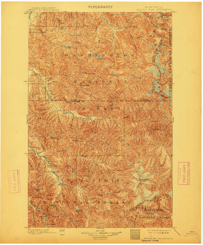 USGS 1:125000-SCALE QUADRANGLE FOR GLACIER PEAK, WA 1901