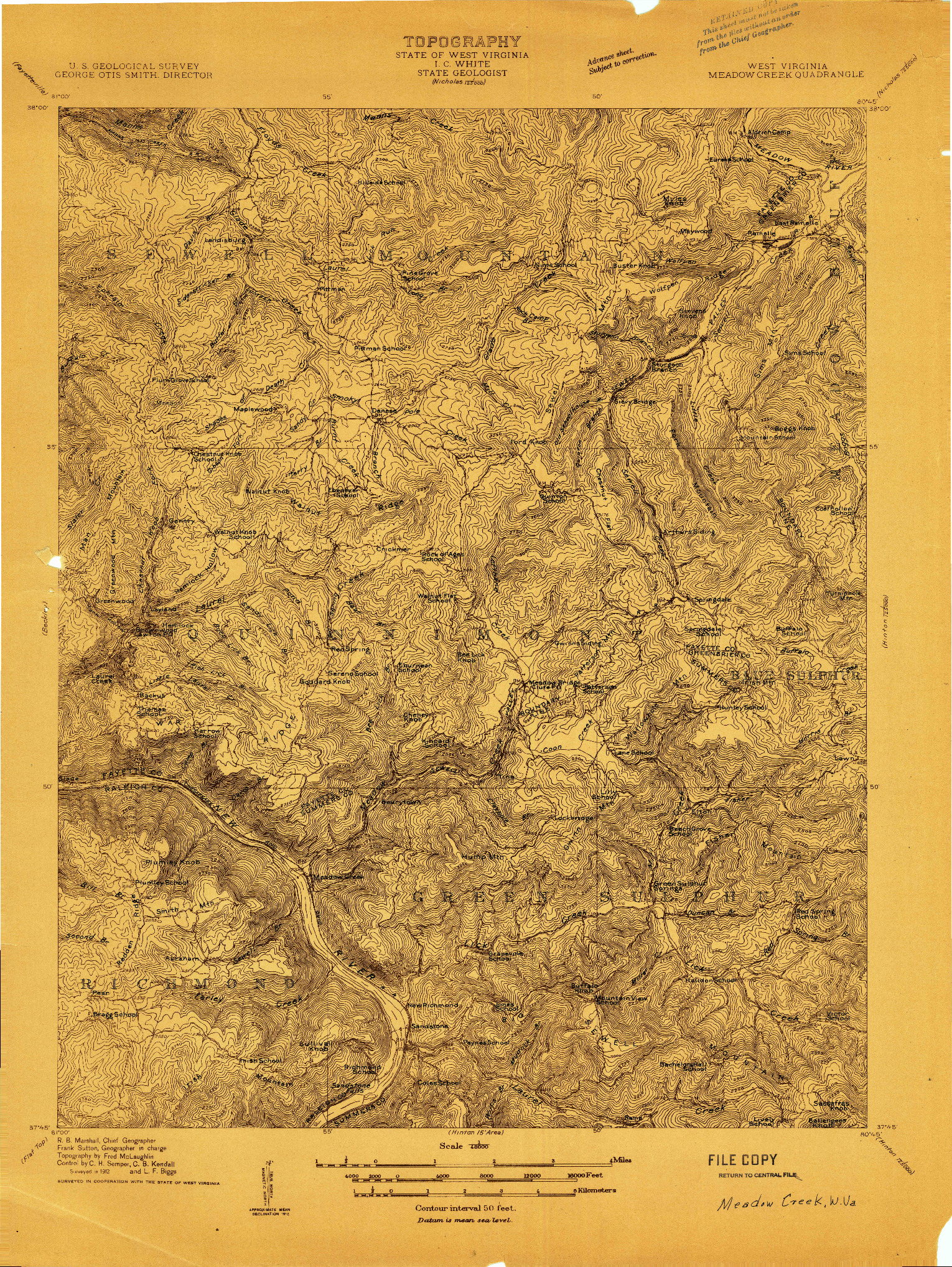 USGS 1:48000-SCALE QUADRANGLE FOR MEADOW CREEK, WV 1912