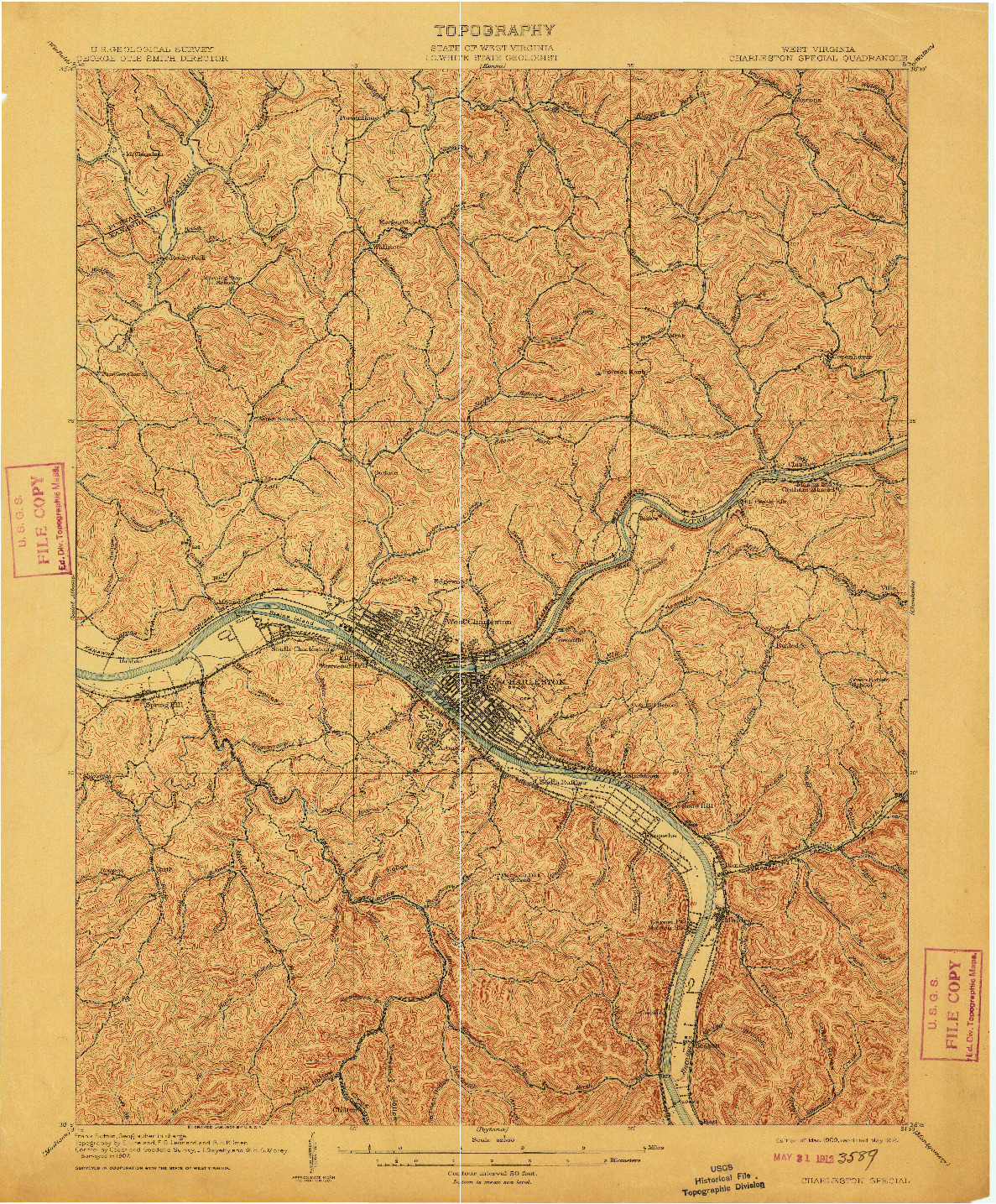 USGS 1:62500-SCALE QUADRANGLE FOR CHARLESTON SPECIAL, WV 1909