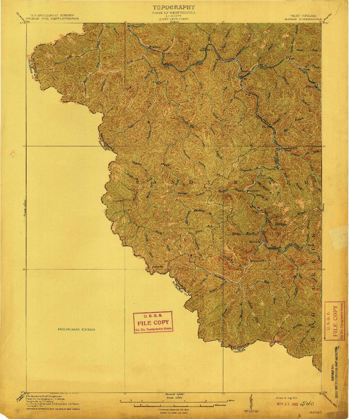 USGS 1:62500-SCALE QUADRANGLE FOR IAEGER, WV 1912