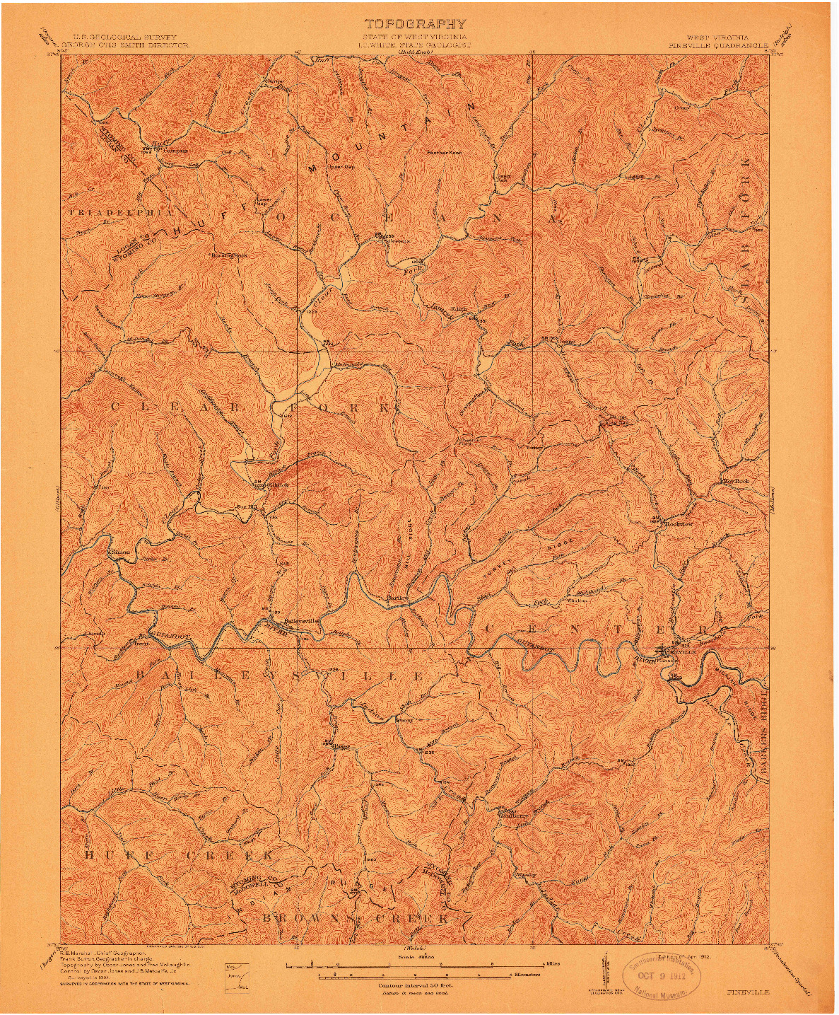 USGS 1:62500-SCALE QUADRANGLE FOR PINEVILLE, WV 1912