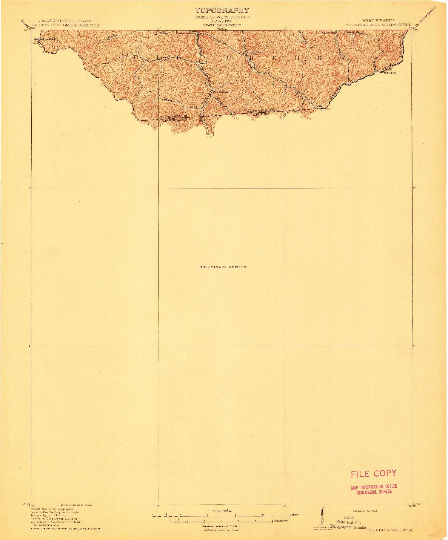 USGS 1:62500-SCALE QUADRANGLE FOR POUNDING MILL, WV 1912