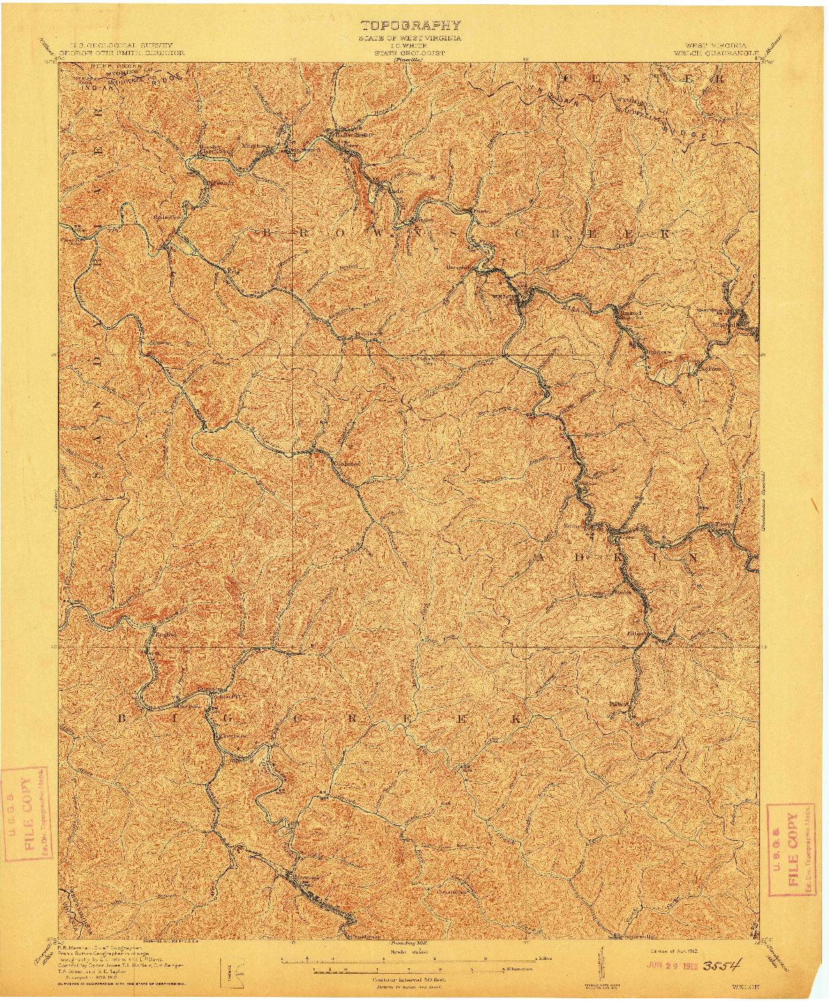 USGS 1:62500-SCALE QUADRANGLE FOR WELCH, WV 1912
