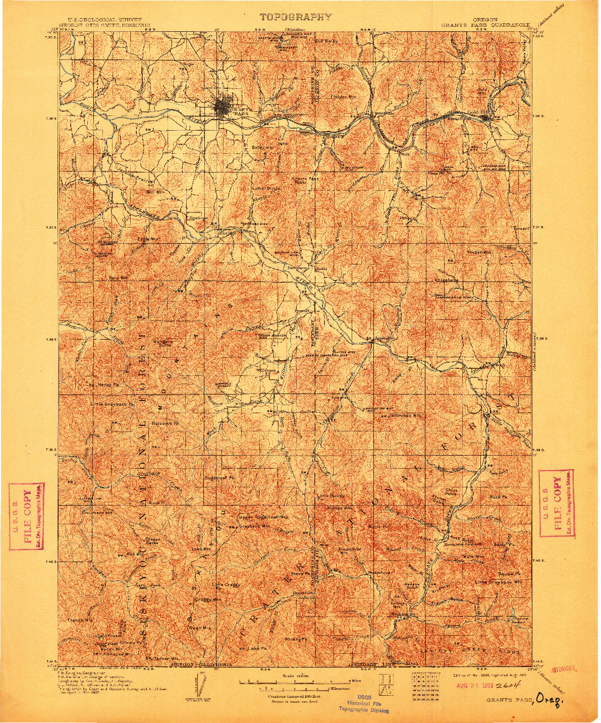 USGS 1:125000-SCALE QUADRANGLE FOR GRANTS PASS, OR 1908