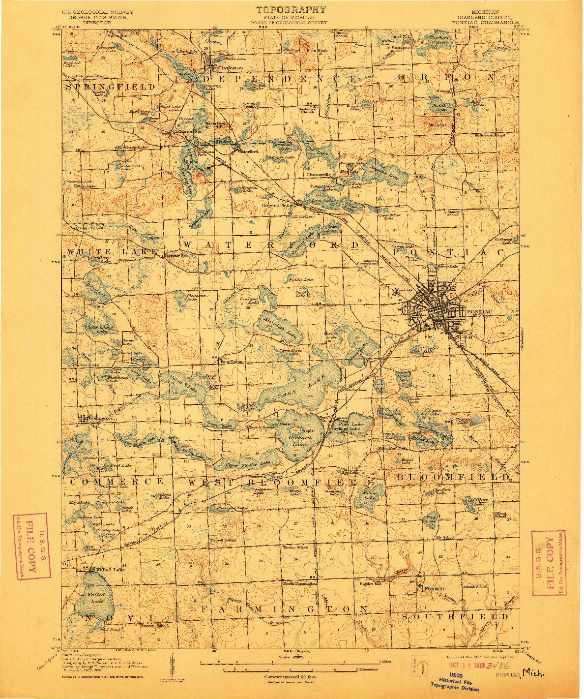USGS 1:62500-SCALE QUADRANGLE FOR PONTIAC, MI 1907