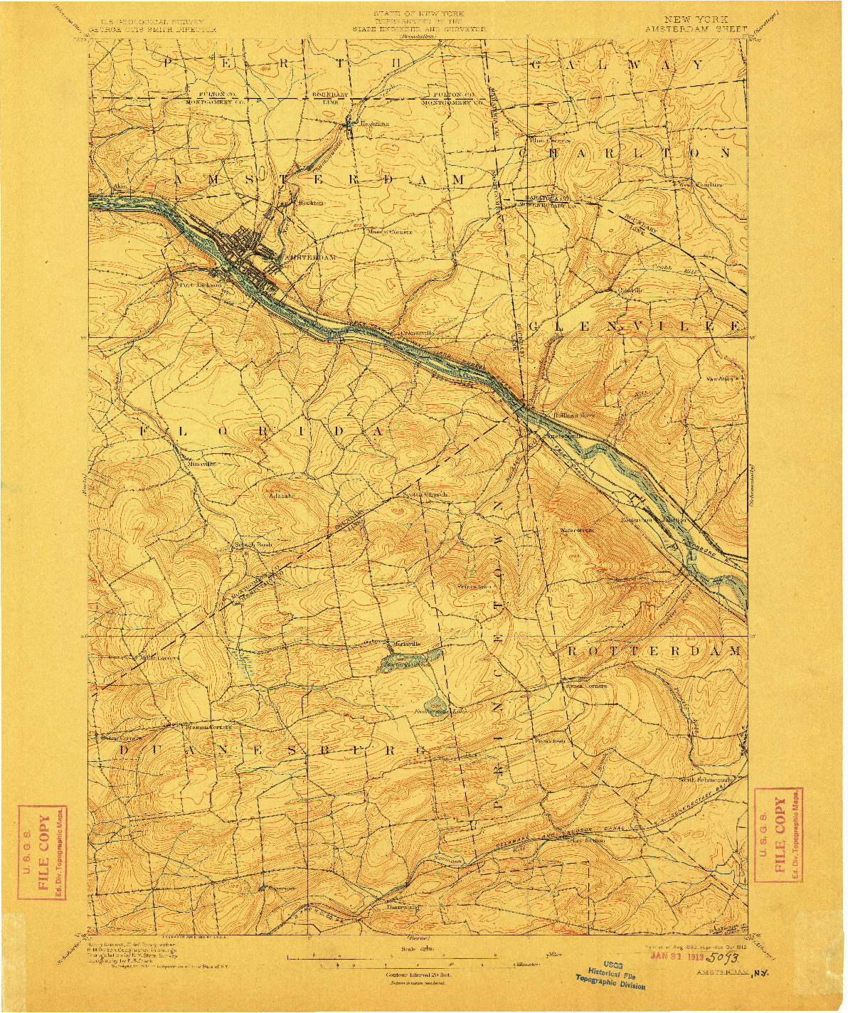 USGS 1:62500-SCALE QUADRANGLE FOR AMSTERDAM, NY 1895