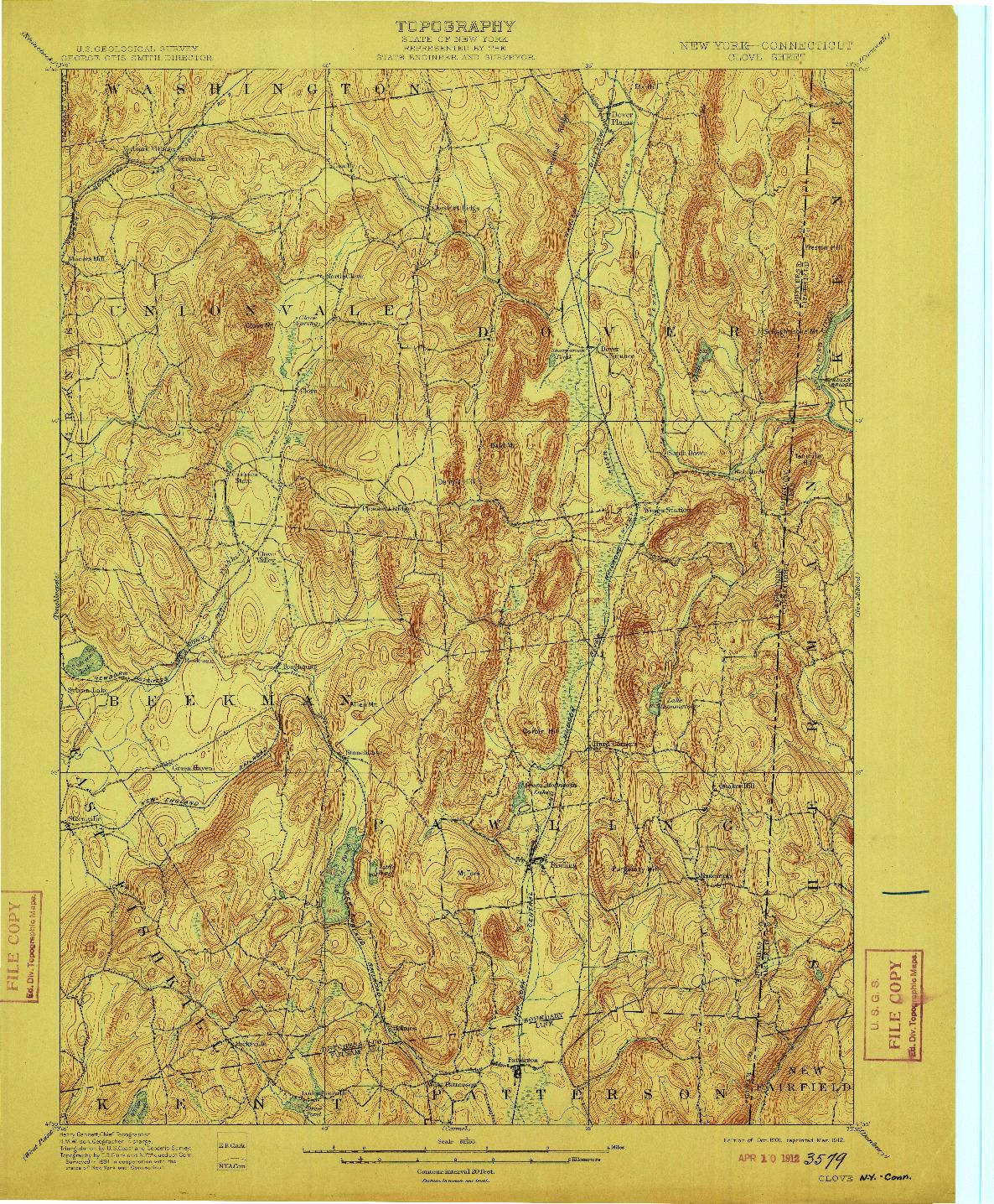 USGS 1:62500-SCALE QUADRANGLE FOR CLOVE, NY 1901