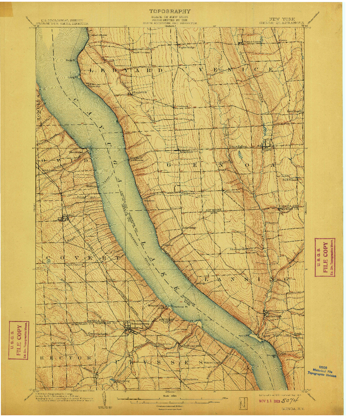 USGS 1:62500-SCALE QUADRANGLE FOR GENOA, NY 1902