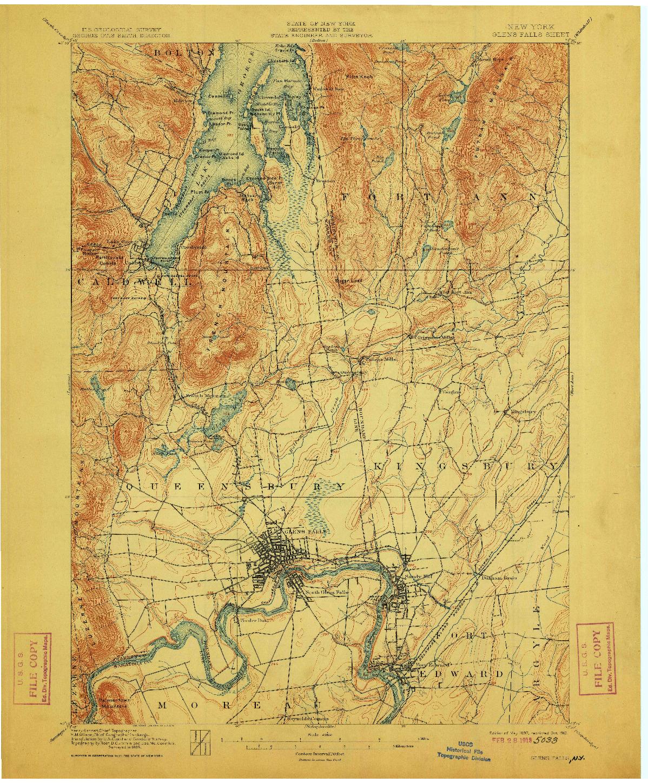 USGS 1:62500-SCALE QUADRANGLE FOR GLENS FALLS, NY 1897