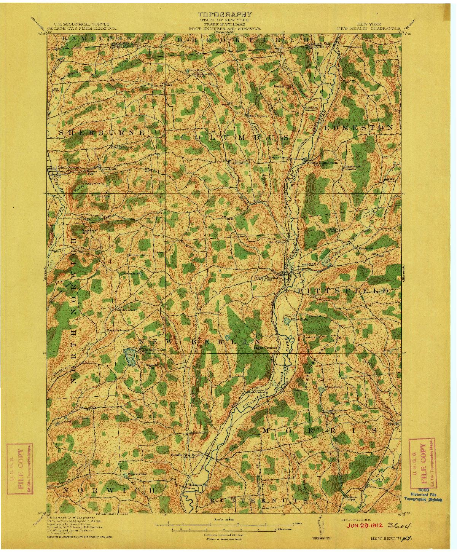 USGS 1:62500-SCALE QUADRANGLE FOR NEW BERLIN, NY 1912