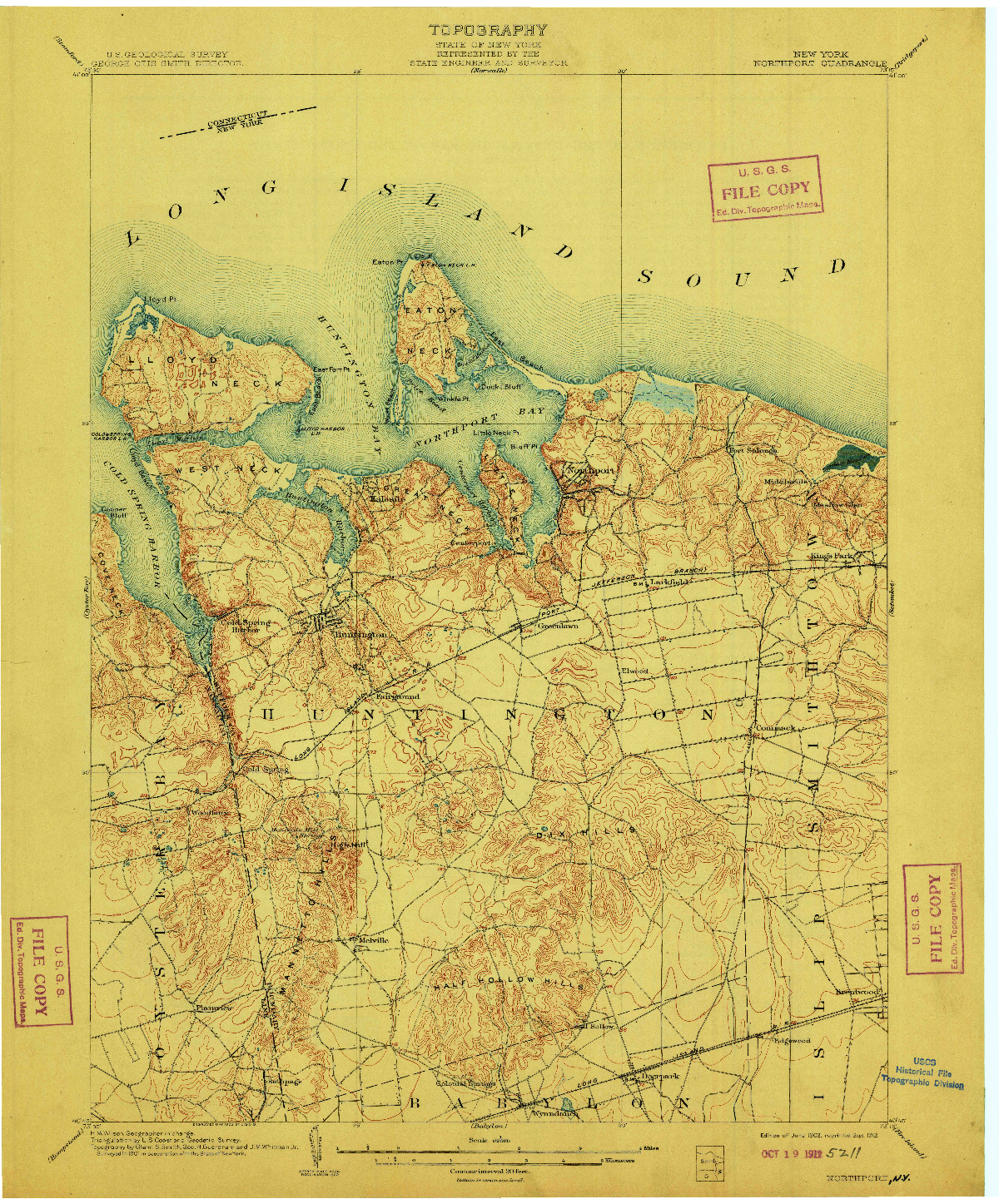 USGS 1:62500-SCALE QUADRANGLE FOR NORTHPORT, NY 1903