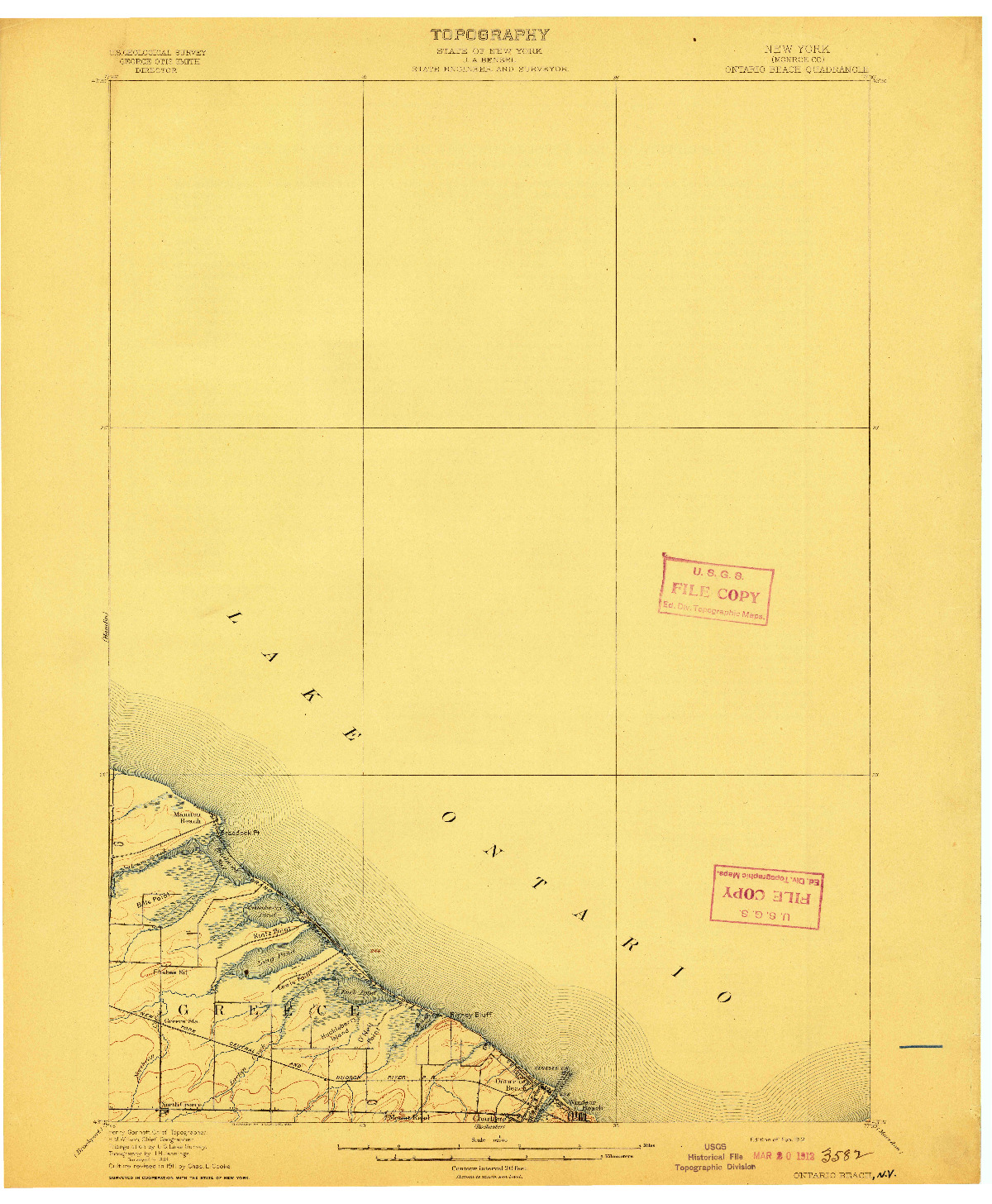 USGS 1:62500-SCALE QUADRANGLE FOR ONTARIO BEACH, NY 1912