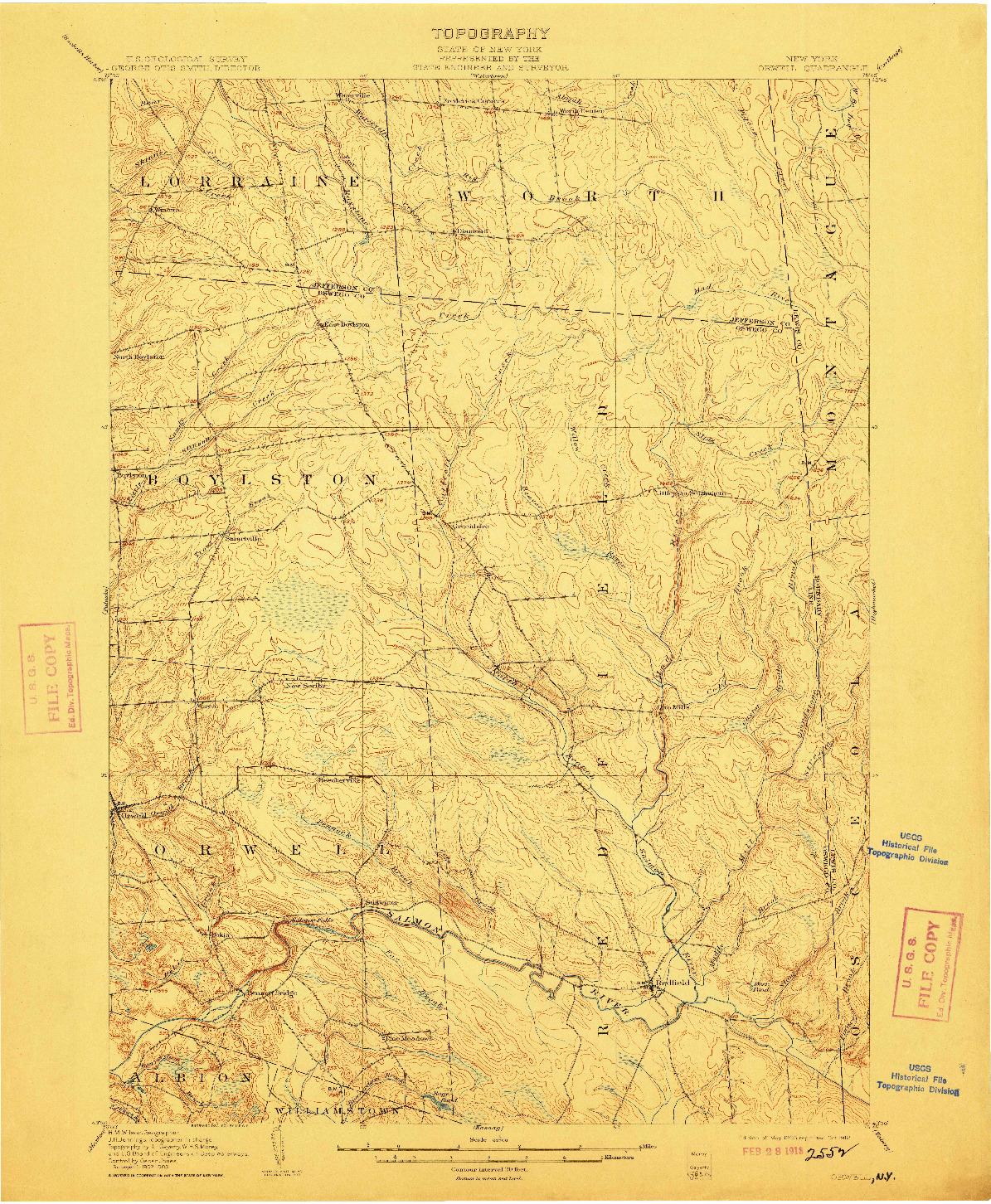 USGS 1:62500-SCALE QUADRANGLE FOR ORWELL, NY 1905