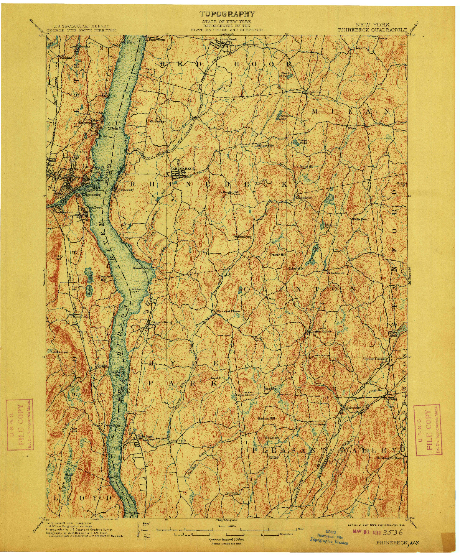 USGS 1:62500-SCALE QUADRANGLE FOR RHINEBECK, NY 1898