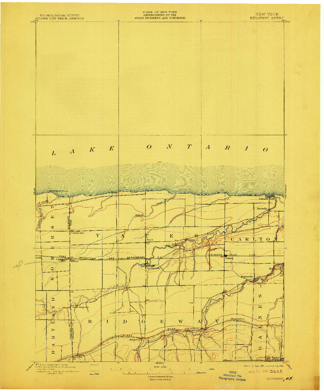 USGS 1:62500-SCALE QUADRANGLE FOR RIDGEWAY, NY 1897