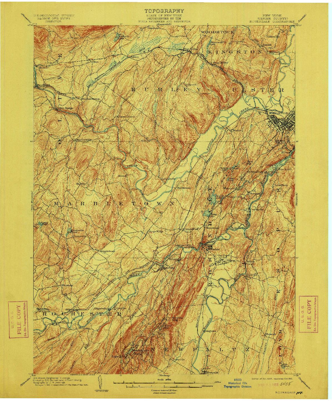 USGS 1:62500-SCALE QUADRANGLE FOR ROSENDALE, NY 1903