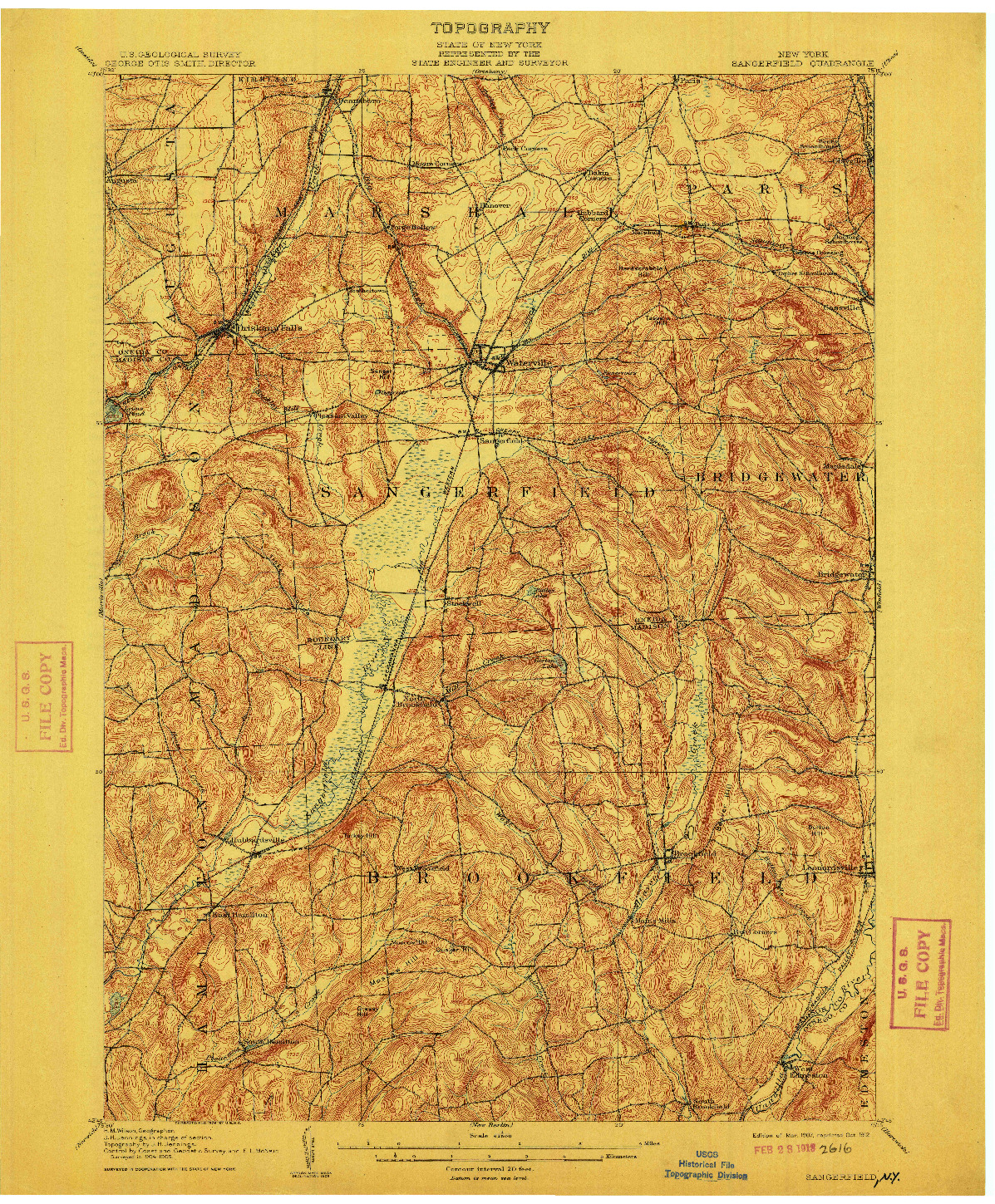 USGS 1:62500-SCALE QUADRANGLE FOR SANGERFIELD, NY 1907