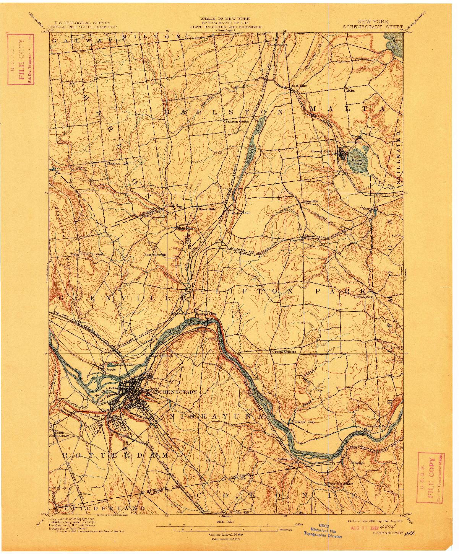 USGS 1:62500-SCALE QUADRANGLE FOR SCHENECTADY, NY 1898