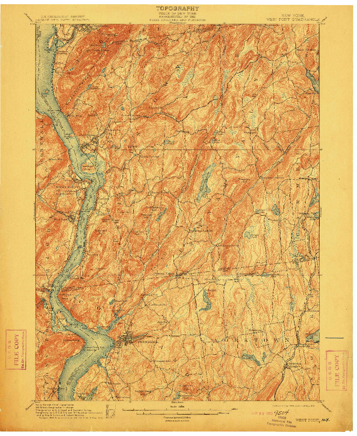USGS 1:62500-SCALE QUADRANGLE FOR WEST POINT, NY 1901