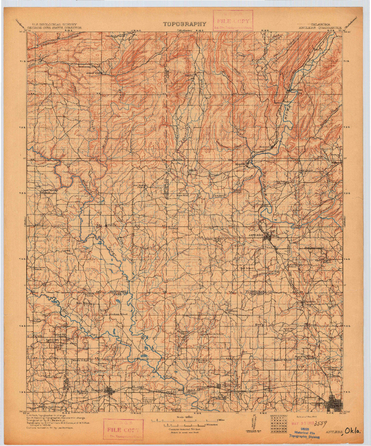 USGS 1:125000-SCALE QUADRANGLE FOR ANTLERS, OK 1912