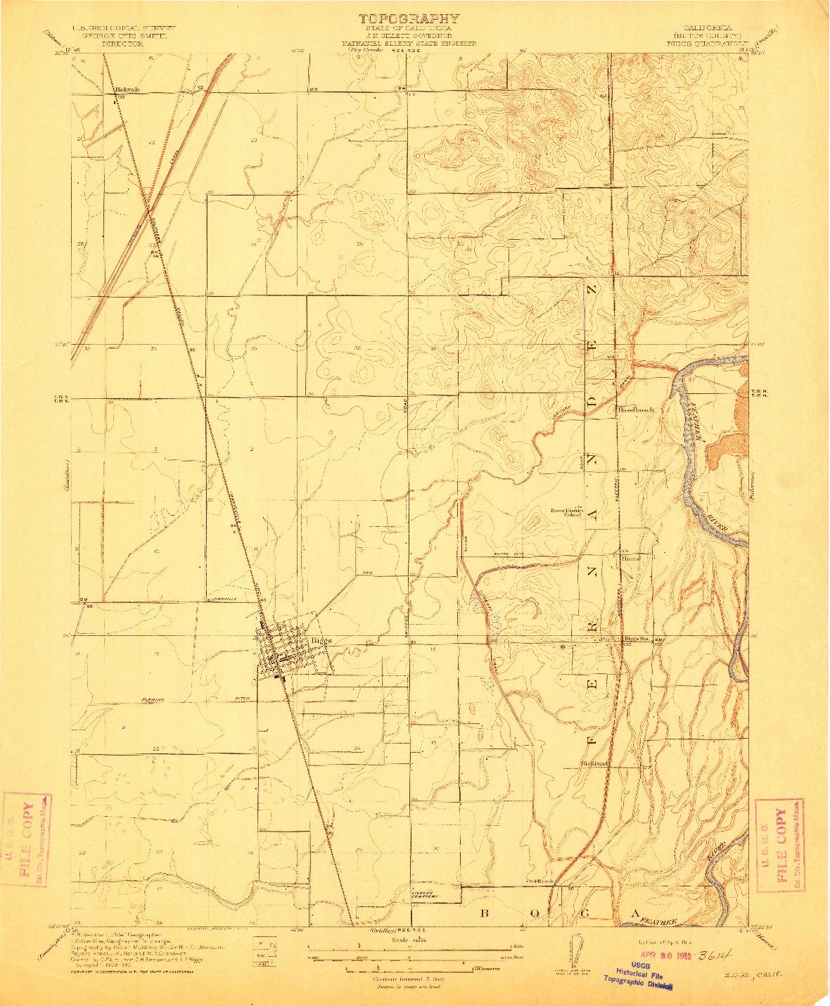 USGS 1:31680-SCALE QUADRANGLE FOR BIGGS, CA 1912