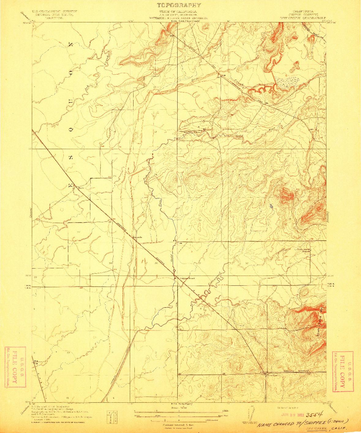 USGS 1:31680-SCALE QUADRANGLE FOR DRY CREEK, CA 1912
