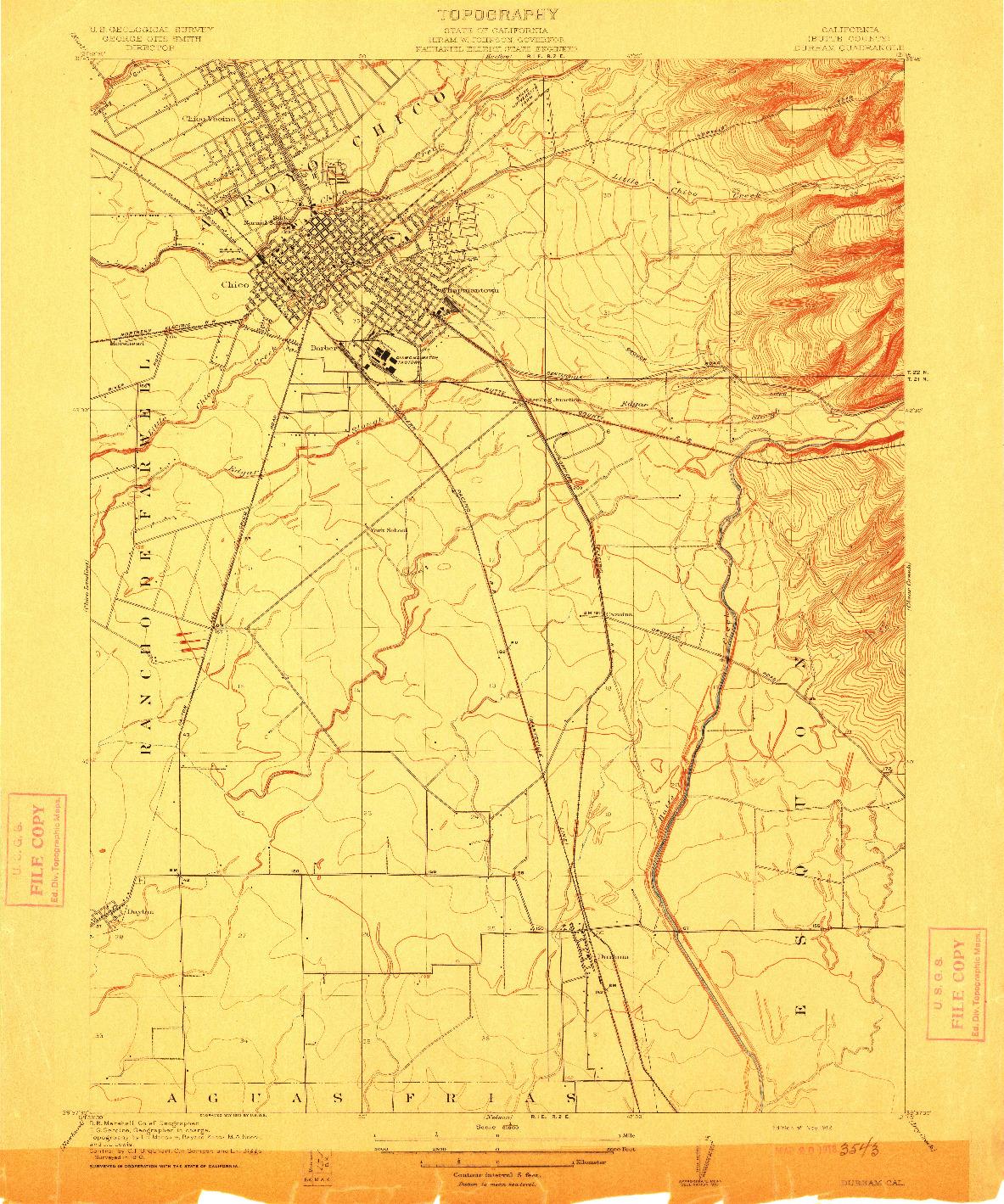 USGS 1:31680-SCALE QUADRANGLE FOR DURHAM, CA 1912