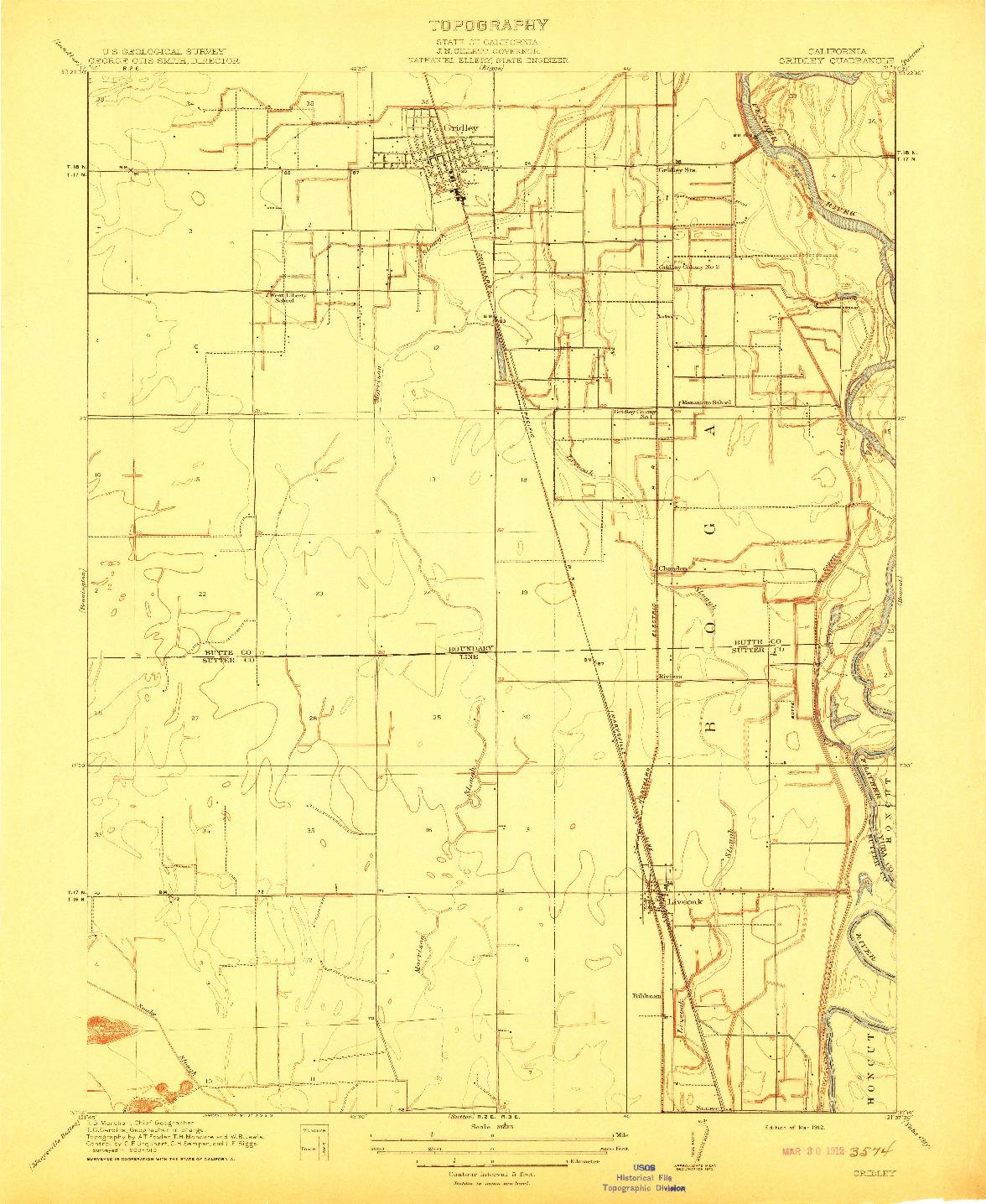 USGS 1:31680-SCALE QUADRANGLE FOR GRIDLEY, CA 1912