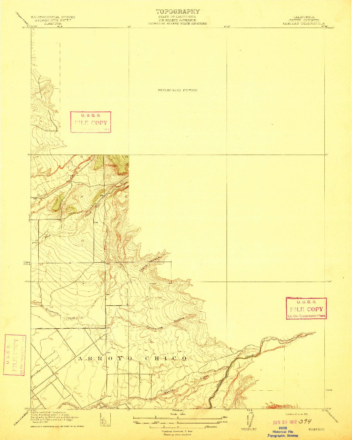 USGS 1:31680-SCALE QUADRANGLE FOR KEEFERS, CA 1912