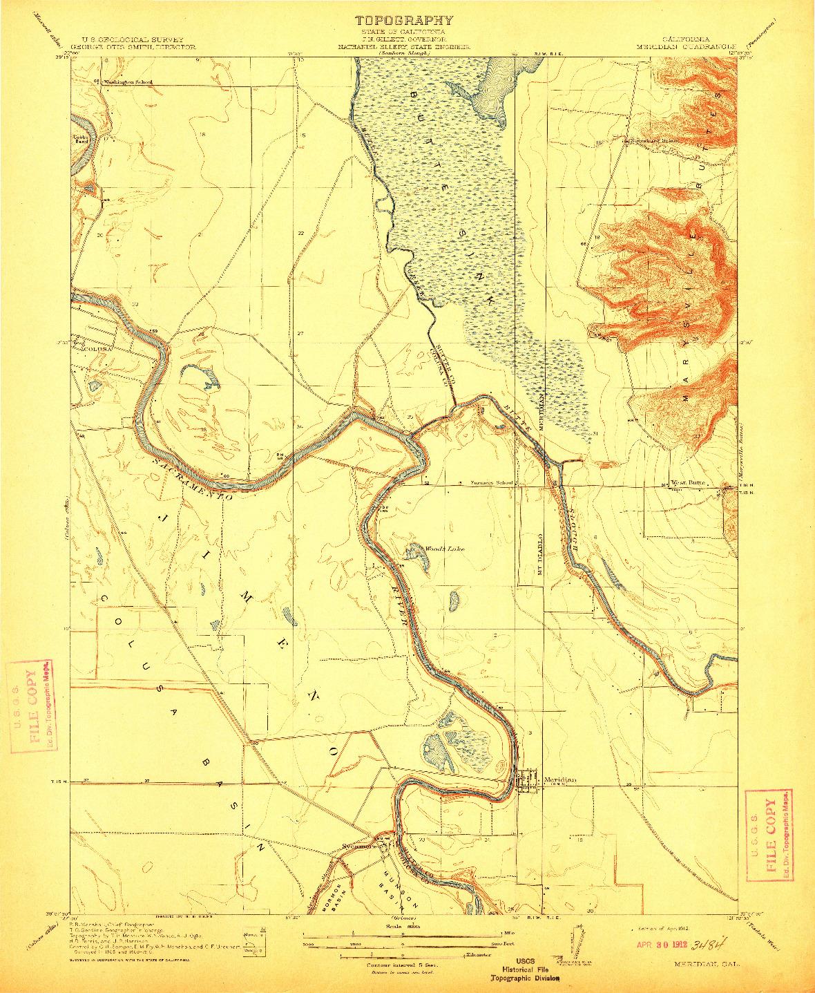 USGS 1:31680-SCALE QUADRANGLE FOR MERIDIAN, CA 1912