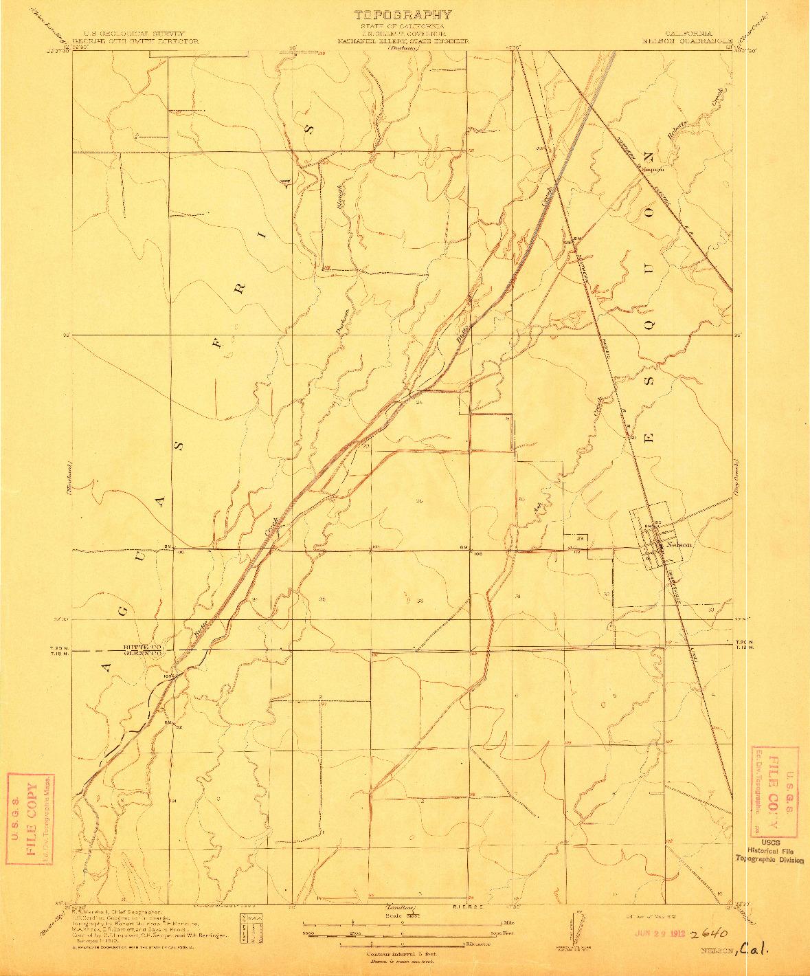 USGS 1:31680-SCALE QUADRANGLE FOR NELSON, CA 1912