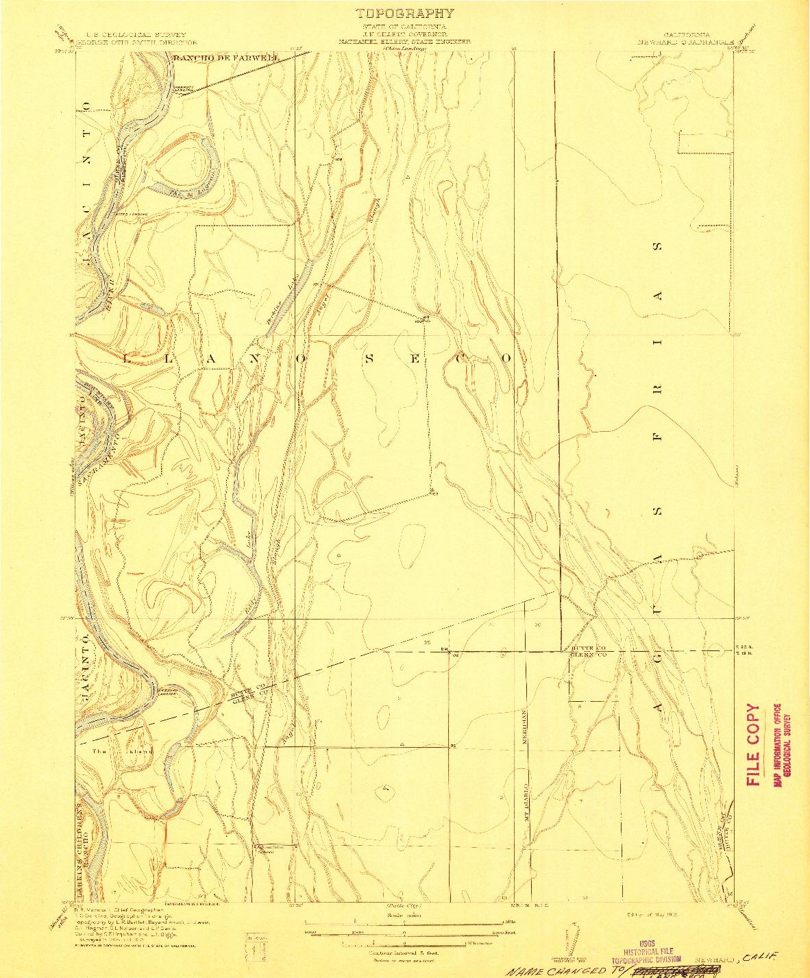 USGS 1:31680-SCALE QUADRANGLE FOR NEWHARD, CA 1912