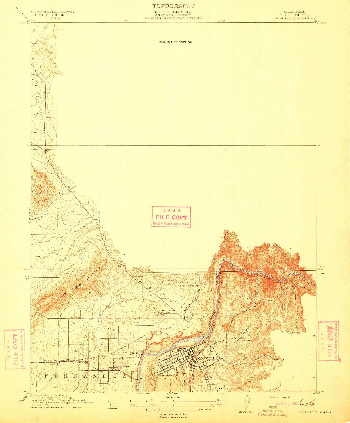 USGS 1:31680-SCALE QUADRANGLE FOR OROVILLE, CA 1912