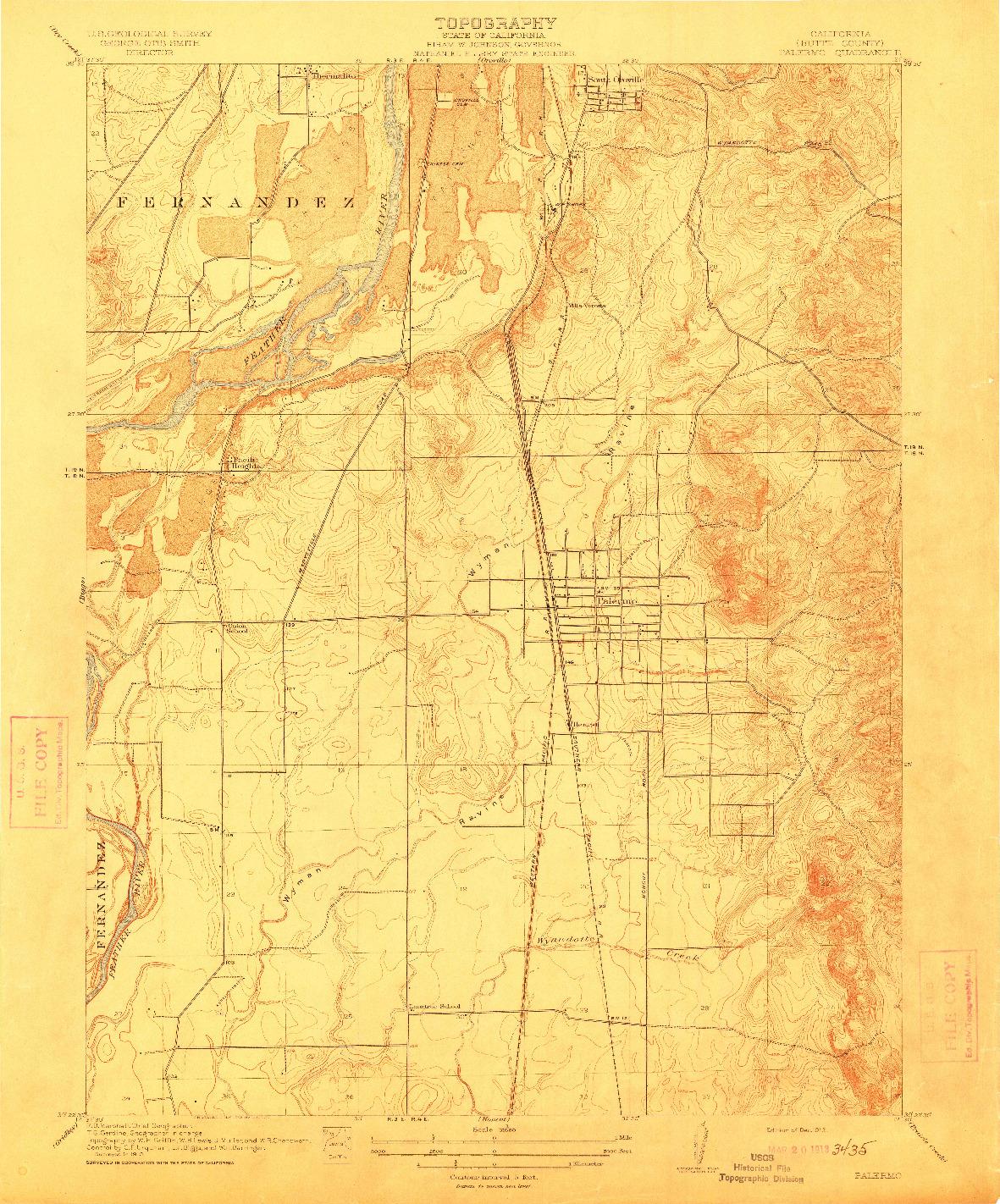 USGS 1:31680-SCALE QUADRANGLE FOR PALERMO, CA 1912