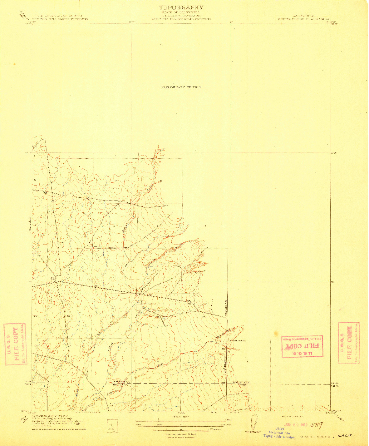 USGS 1:31680-SCALE QUADRANGLE FOR SINGER CREEK, CA 1912