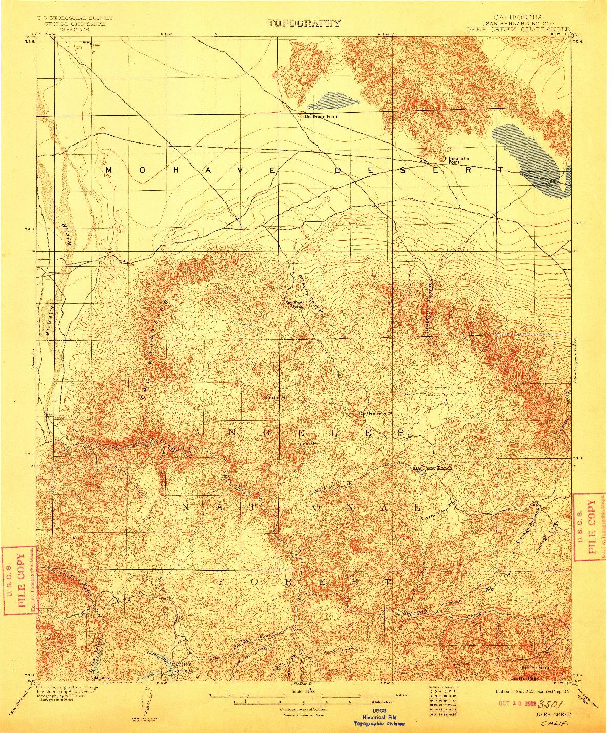 USGS 1:62500-SCALE QUADRANGLE FOR DEEP CREEK, CA 1902