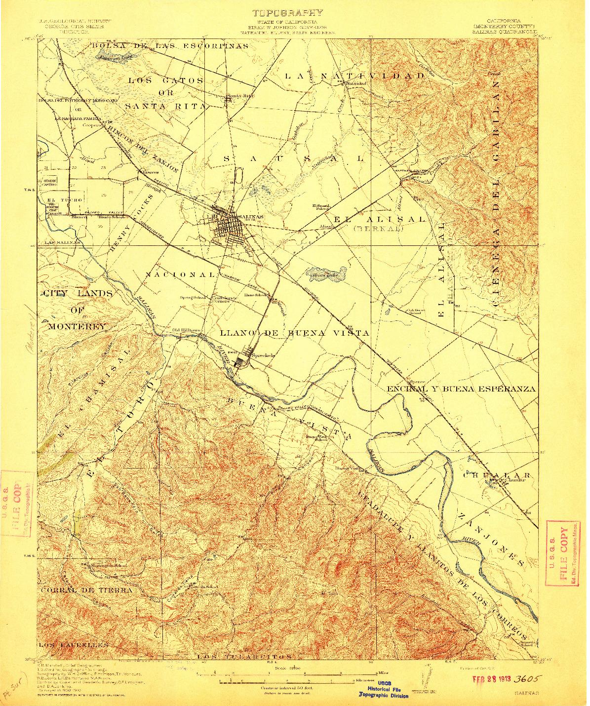 USGS 1:62500-SCALE QUADRANGLE FOR SALINAS, CA 1912