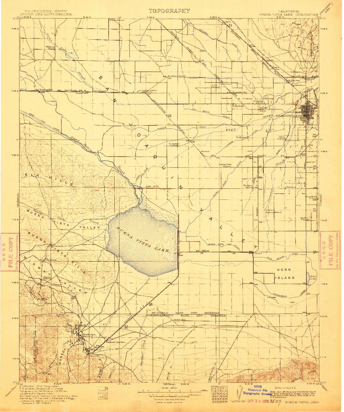 USGS 1:125000-SCALE QUADRANGLE FOR BUENA VISTA LAKE, CA 1910