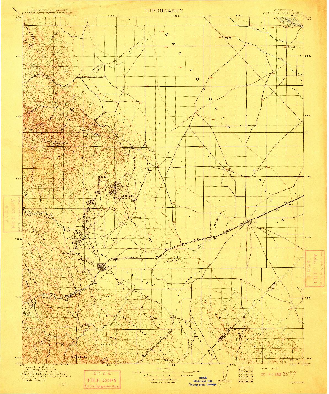 USGS 1:125000-SCALE QUADRANGLE FOR COALINGA, CA 1912