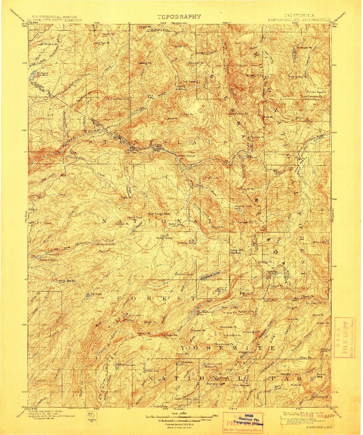 USGS 1:125000-SCALE QUADRANGLE FOR DARDANELLES, CA 1898