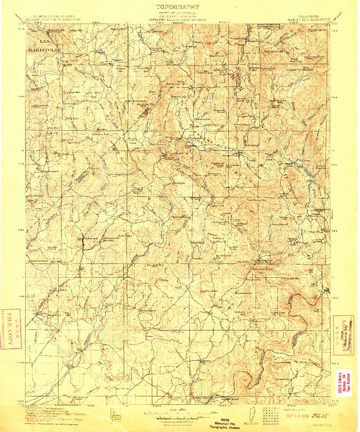 USGS 1:125000-SCALE QUADRANGLE FOR MARIPOSA, CA 1912