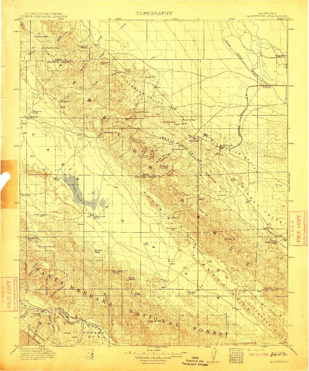USGS 1:125000-SCALE QUADRANGLE FOR MCKITTRICK, CA 1912