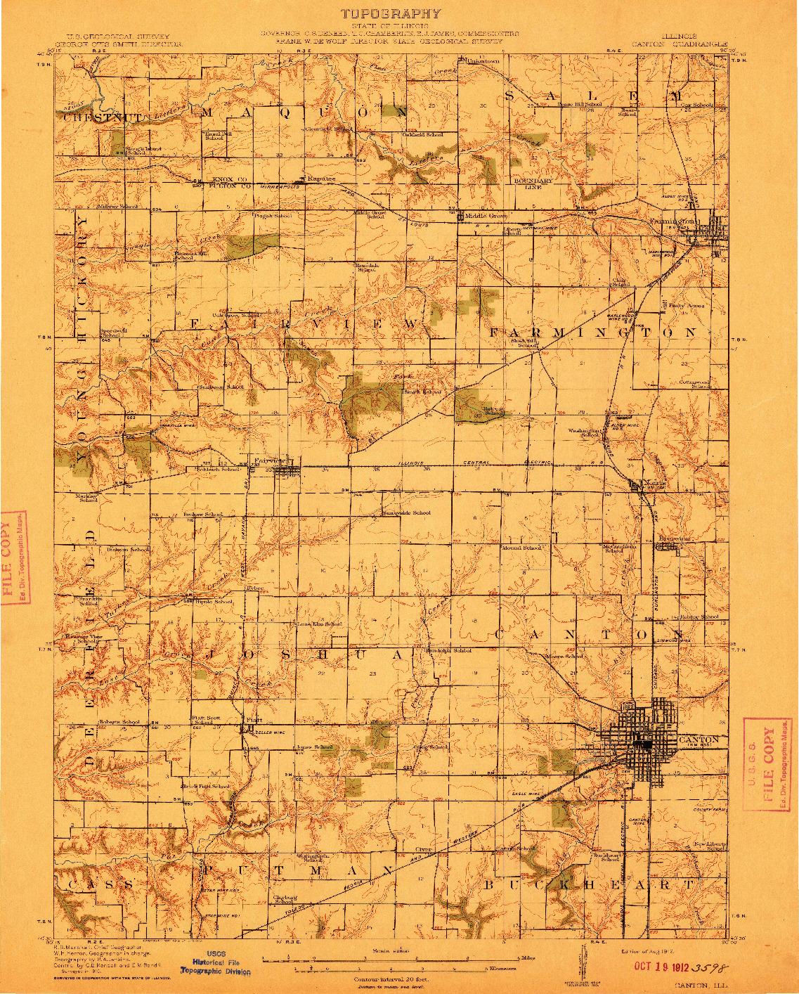 USGS 1:62500-SCALE QUADRANGLE FOR CANTON, IL 1912